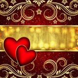 Valentine`s day red golden background with hearts and flowers. Vector Stock Photos