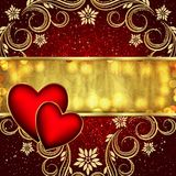 Valentine`s day red golden background with hearts and flowers. Vector Royalty Free Stock Photo