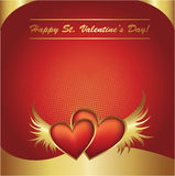 Valentine's Day red and golden hearts postcard Royalty Free Stock Images