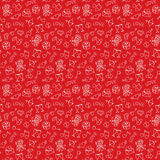 Valentine`s Day Red Hand Drawing Seamless Pattern. Beautiful hand drawing elements on red background. Red hand drawing seamless pattern for valentine`s day with Royalty Free Stock Image