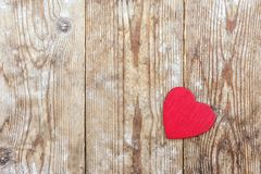 Valentine`s Day. red heart on the background of old boards.  royalty free stock photos