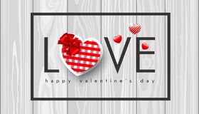 Valentine`s day, red heart with red bow in a black frame on a wooden background, realistic vector illustration. Valentine`s day, red heart with red bow in a Stock Photo