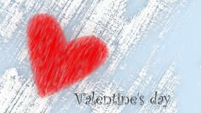 Valentine`s day - red heart. 3d illustration. Valentines day - red heart on white blue background - on postcard with copy space. 3d illustration stock illustration