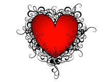Valentine's Day Red Heart Flourishes Royalty Free Stock Photo