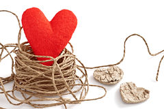 Love heart nest, Valentines Day. Greeting card Royalty Free Stock Images