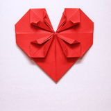 Valentine's Day Red Heart Origami Card. Valentine's Day Red Heart on Grey Paper Origami Card Royalty Free Stock Image