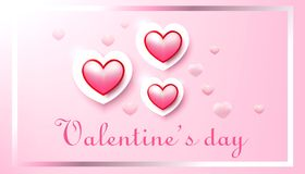 Valentine`s day, red heart on pink background, realistic vector illustration. Valentine`s day, red heart on pink background, realistic illustration Royalty Free Stock Image