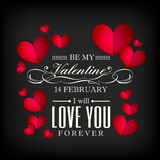 Valentine`s day red heart shaped on black background royalty free illustration