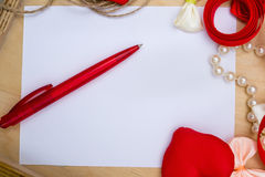 Valentine`s day red heart symbol, romantic background, designer Royalty Free Stock Photography