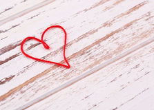 Valentine's Day. Red heart of thread shaped Royalty Free Stock Photo
