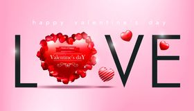 Valentine`s day, red heart, with the word love and with roses petals on pink background, realistic vector illustration. Valentine`s day, red heart, with the word Stock Photography