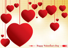Valentine's Day and red Heart on yellow background. Vector Valentine's Day Background. stock illustration
