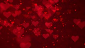 Valentine`s day red Hearts and glitter lights or bokeh particles loopable abstract background. You can use backgrounds for vfx, blog, vlogs, presentations stock footage