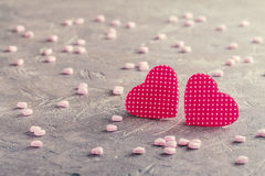Valentine`s day red hearts Stock Photography