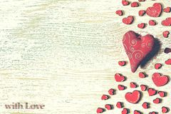 St. Valentine`s Day, Red hearts, Postcard, congratulation, woode. Valentine`s Day. Red hearts on a wooden white texture. Postcard, congratulations Stock Images