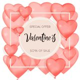 Valentine`s Day. Red inflatable balls. Vector illustration of a banner banner. Wallpaper, flyer, invitation to the store, poster. Banner about sales and Stock Photography