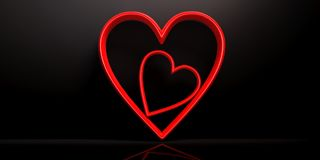 Valentine`s day. Red joined hearts on black background. 3d illustration. Valentine`s day concept. Red joined hearts on black background. 3d illustration Stock Image