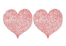 Red Polka Dots hearts isolated on white backgro Royalty Free Stock Photography