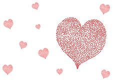 Red Polka Dots hearts isolated on white background. Valentine`s day, Red Polka Dots hearts isolated on white background, Heart shape Stock Illustration