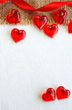 Valentine's day red ribbon, clear glass heart Royalty Free Stock Photo