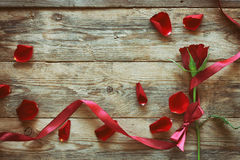 Valentine`s day, red rose, ribbon, scattered petals. Valentine`s day, red rose, silk ribbon, scattered petals on the old wooden table Stock Images