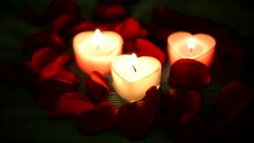 Valentine's Day red roses and candles. stock video footage