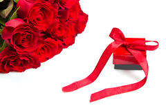 Valentine's day Red roses and gift box Stock Images