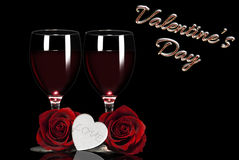 Valentine's day. Red roses, white hearts, toast red wine Stock Photography
