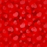 Valentine's day red seamless pattern with hearts. Vector eps-10. Stock Image