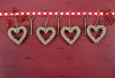 Valentine's Day red vintage wood background Royalty Free Stock Photos
