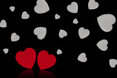 Valentine's day. Red and white hearts Stock Photo