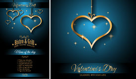 Valentine`s Day Restaurant Menu Template Background for Romantic Dinner Royalty Free Stock Photography