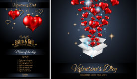 Valentine`s Day Restaurant Menu Template Background for Romantic Dinner Royalty Free Stock Image