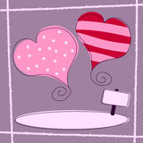 Valentine s Day [Retro 1]. St. Valentines or Saint Valentine s Day retro background with two hearts. Empty space for your message. Useful also as greeting card Royalty Free Stock Photos