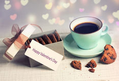 Valentine's day retro card coffee cup & cookies,present box labe Royalty Free Stock Photos