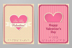 Valentine`s Day retro cards. Braille. Vector illustration. Valentine cards with text braille. Retro, vintage design backgrounds stripes and in the circle Royalty Free Stock Images