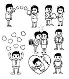 Valentine`s Day Retro Cartoons Vectors. Cartoon Valentine People with Many Love Concepts Graphics Vector Illustration Stock Photos