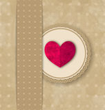 Valentines Day retro elegance grunge background with pink heart Stock Image