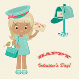 Valentine's Day retro greeting card. Pretty postwoman with love letter and greetings Stock Photography