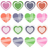 Valentine s Day Retro Hearts Collection. Set of St. Valentines or Saint Valentine s Day retro hearts, isolated on white background. Eps file available Royalty Free Stock Photography