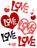 Valentine's Day Retro Love and Hearts. A clip art illustration featuring a variety of hearts and the word 'love Stock Photo