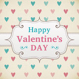 Valentine's Day retro poster. Card design width heart Stock Image