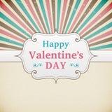 Valentine's Day retro poster. Card design width heart Stock Photo