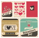 Valentine`s Day retro posters set Royalty Free Stock Image