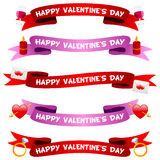 Valentine s Day Ribbons or Banners Set. Collection of happy St. Valentines or Saint Valentine s Day party ribbons or banners in two different colors (red and Stock Photo