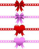 Valentine s Day Ribbons Set. Collection of four colorful satin St. Valentines or Saint Valentine s Day ribbons, isolated on white background. Useful as design Stock Photography