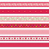 Valentine's day ribbons set Stock Photos