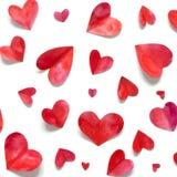 Valentine`s day romantic background. Watercolor hearts stock photo
