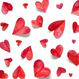 Valentine`s day romantic background. Watercolor hearts royalty free stock images