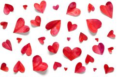 Valentine`s day romantic background. Watercolor hearts stock image